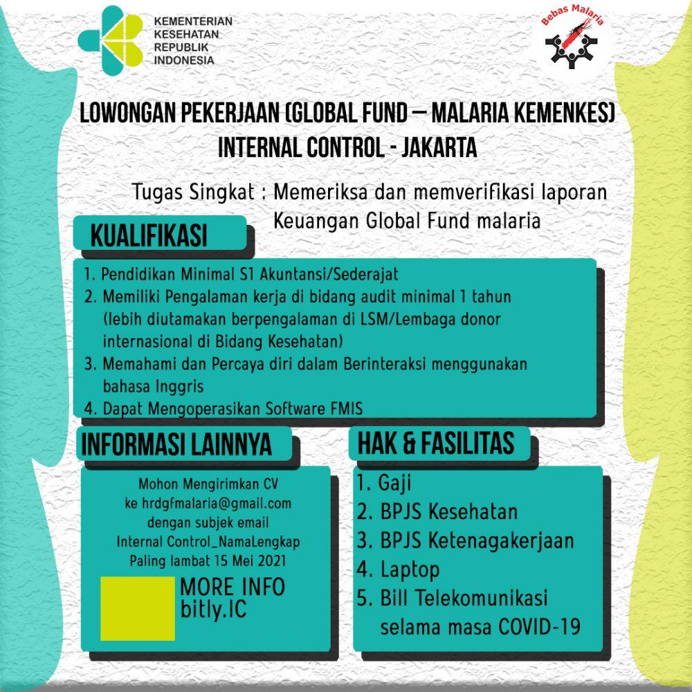 Lowongan Pekerjaan (Global Fund – Malaria Kemenkes) Internal Control - Jakarta